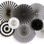 Black and White Party Fan, Party Paper Fans, Halloween Party Decor,Photo Backdrop, Black & White Pinwheel Backdrop,Black Party BWP205