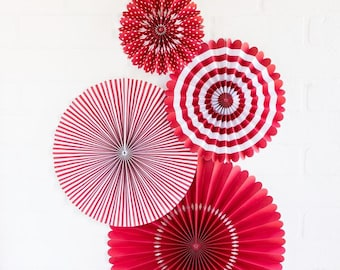 Cherry Red Party Fans - Party Paper Fans - Red Party Decor - Paper Fan Backdrop - Red Backdrop - Red Pinwheel - Paper Rosettes - PLCP03