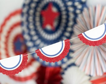 Red White and Blue Patriotic Bunting - 4th of July Party Banner -Patriotic Party Decor -Red White Blue -Summer-Memorial Day BBQ Labor Day