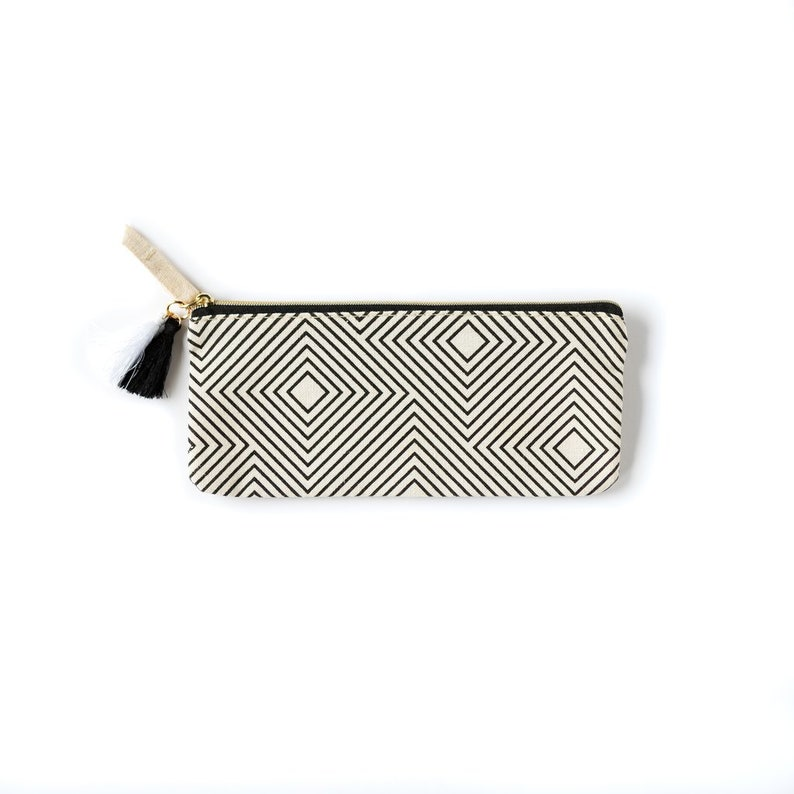 aca0fc397828 Black & White Geometric Accessory Zipper Pouch - Canvas Zipper Pouch -  Black and White Design Pouch - Cosmetic Zipper Bag - Small Cosmetic