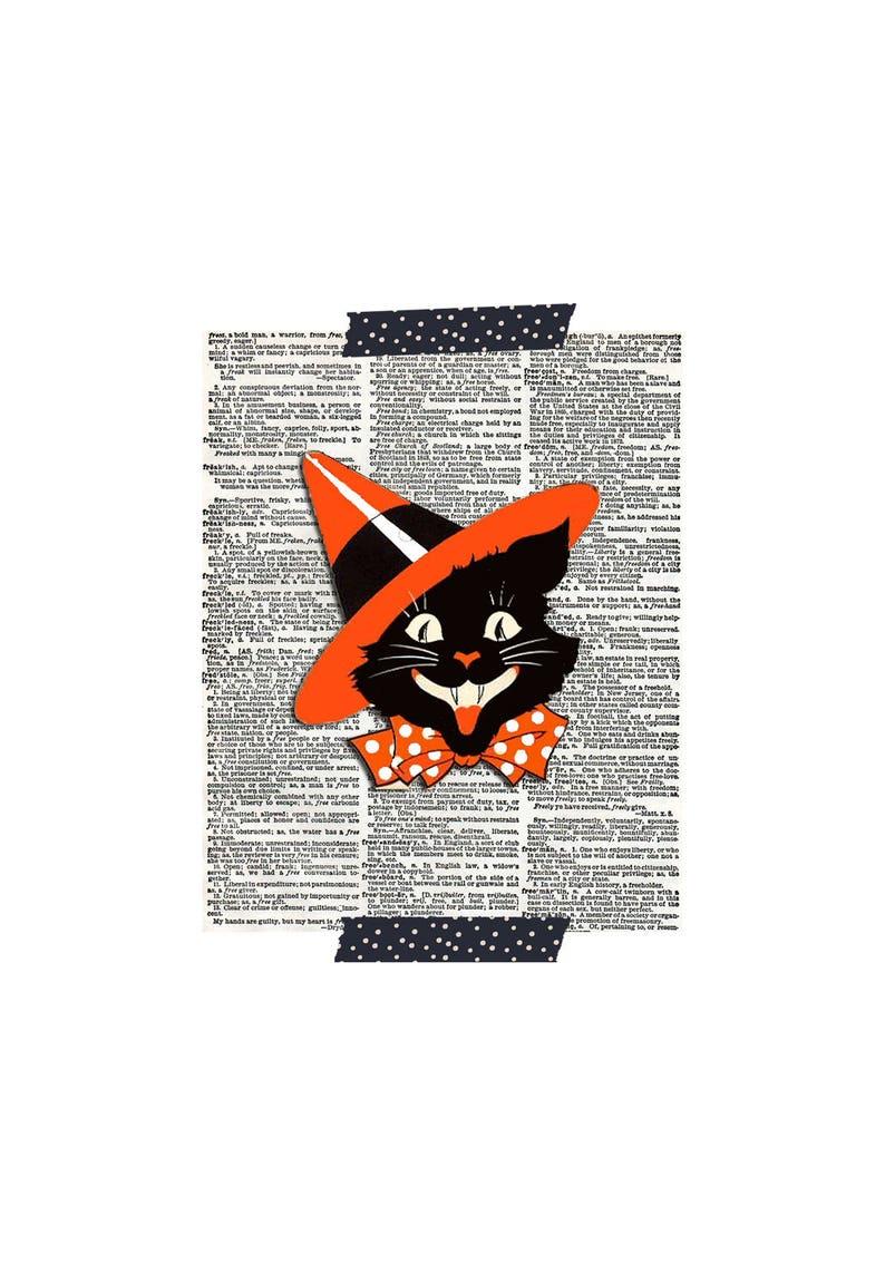 Halloween Cat Print  Halloween Black Cat Print  Vintage image 0