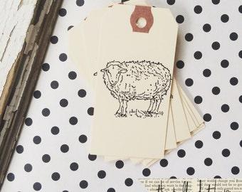 Sheep Gift Tag - 10 sheep manila mini gift tags - Primitive Rustic Farmhouse Tag - Lamb tags - Favor Tags - Merchandise Tag - Journaling Tag