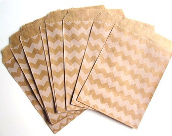 Chevron Kraft bags set of 10, 4x6 party favor gift bags - Kraft Party Bag - Zig Zag Kraft bag - Party favor bag - Candy buffet - Treat Bag