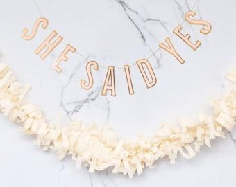 She Said Yes Banner - Bridal Party Banner - Bride To Be - Bridal Shower garlands - My Mind's Eye - Mini Banner Set - Bridal Shower decor