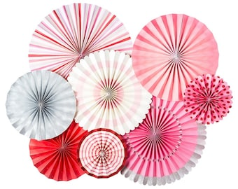 Valentine Party Fans - Party Paper Fans - Pink and Red Party Decor - Paper Lollies - Photo Backdrop - Birthday Party -Wedding Backdrop