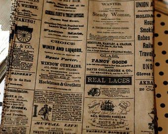 Newsprint paper bags - 50 kraft newsprint paper bags - 6x9 set of 50 - Newsprint kraft bags - Newsprint merchandise bags - Vintage Newspaper