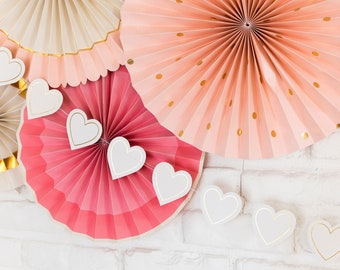 Bride to Be Heart Banner - Bridal Shower Heart Banner - Bridal Shower Decor - White and Gold Heart Banner - Heart Garland - Gold Foil Heart