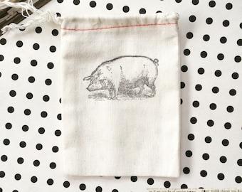 Pig Gift Bag - 10 hand stamped pig cotton bag, 3x5 cloth party bags - Hand stamped pig bag - Pig Party - Primitive Rustic Farmhouse Pig Bag