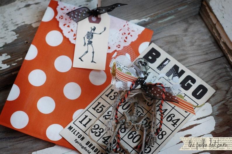 SKELETON mini tags set of 10  Halloween tags  Halloween image 0