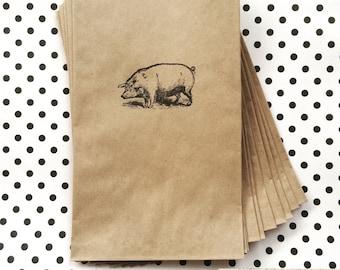 10 pig kraft bags, 5x7 party bags, Farmhouse pig - Pig Party bag - Farmhouse party - Dinner party - BBQ party bag - Picnic bag -Barn wedding