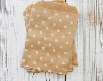 polka dot kraft bags set of 10, 4x6 party favor gift bags