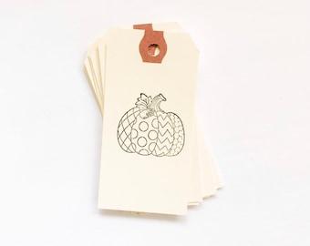Polka dot Pumpkin tag - Pumpkin tag - Fabric Pumpkin tag - Pumpkin tag - Fall pumpkin tag - Fall tag - Fall Pumpkin - Thanksgiving tag - Tag