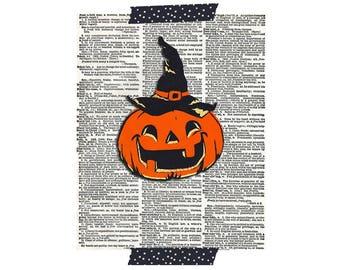 Halloween Print - Halloween Pumpkin Print - Vintage Halloween Clip Art - Printable Halloween Graphic Image - Digital Download