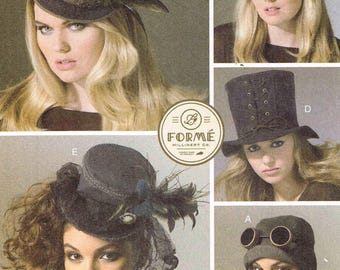 Millinery Steampunk Hats Sewing Pattern McCalls 7335 Misses Womans Cosplay Top Hat, Aviator Helmet Cap Tilted WW2 Uncut Factory Fold