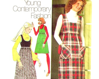 Sewing Pattern Vintage 1970s Maxi Jumper Dress, Scoop Neckline Misses Size 12 Bust 34 Simplicity 5137