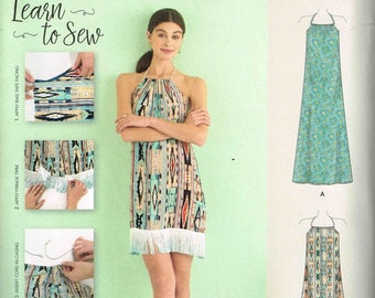 Sewing Pattern Simplicity 8382 easy learn to sew halter dress one size misses size xxs, xs, s, m, l, xl, xll