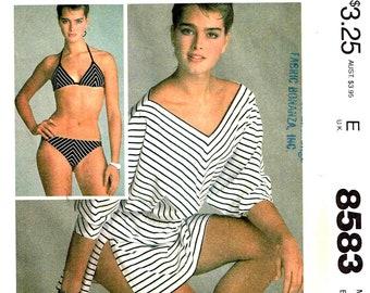 e3ea8ee9f7 Sewing Pattern Bikini Drawstring Bra Halter Top, Bottoms, Beach Cover Up  Brooke Sheilds Vintage 1980s McCalls 8583 Size 10 Bust 32.5 Cut