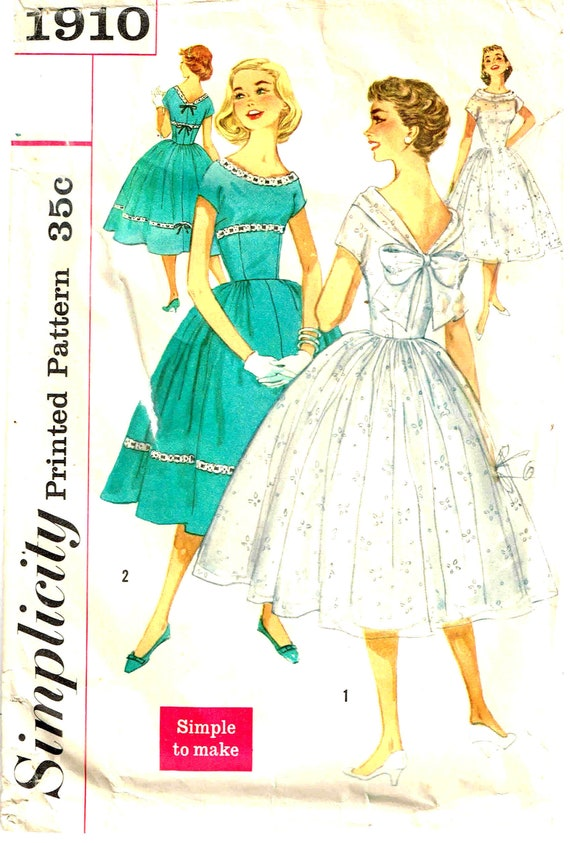 Sewing Pattern Full Skirt Fitted Bodice Party Dress V Back Kimono Sleeves Vintage 1950s Simplicity 1910 Junior Misses Size 12 Bust 32