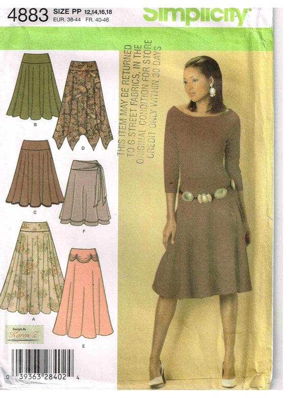 Nähen Muster Damenrock breiter Bund Einfachheit 4883 Misses