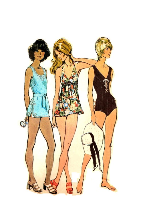 Gathered Front Halter Bathing Suit Top and Bottoms Simplicity 5027 ...