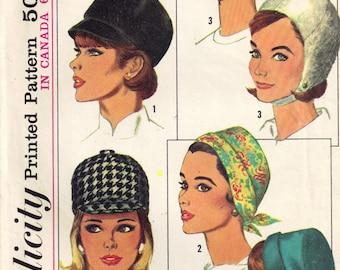 Jockey Riding Cap Helmet Hat Turban Millinery Supply 1960s Retro Simplicity 6191 Vintage 1960s Sewing Pattern