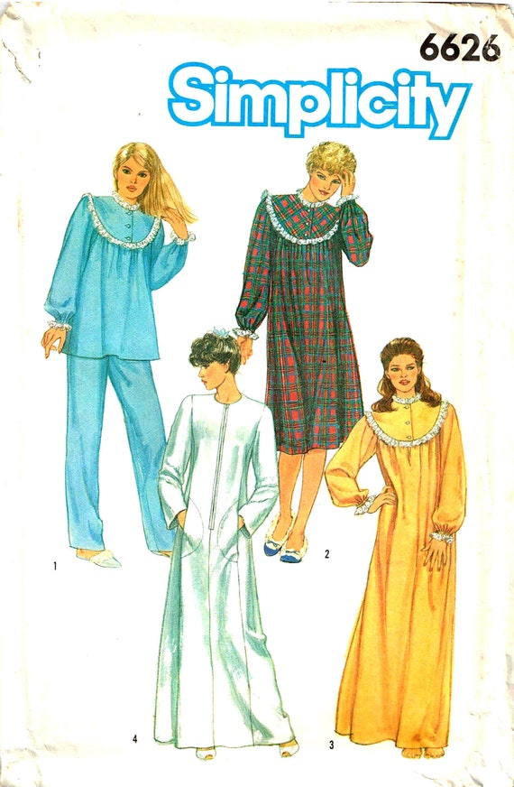 Sewing Pattern Plus Size Nightgown Top Pants Pajamas and Robe ...