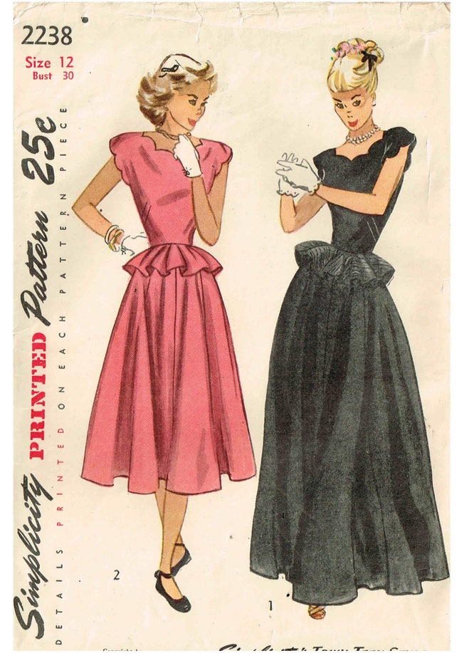 Vintage 1940s Gown Simplicity 2238 Sewing Pattern Scallop | Etsy