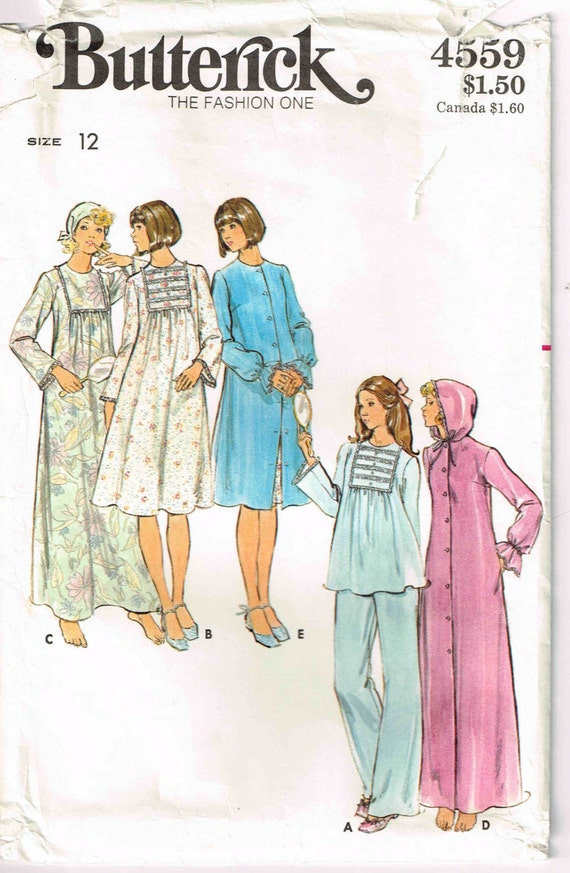 Sewing Pattern Nightgown Hooded Robe and Pajamas Butterick | Etsy