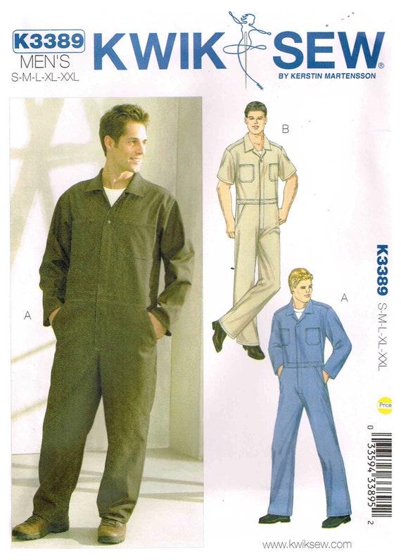 Nähen Muster Mens vorne mit Reißverschluss Jumpsuit Overalls   Etsy