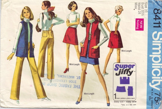 Nähen Schnittmuster Jahrgang 1960er Jahre Hipster Mini-Rock | Etsy