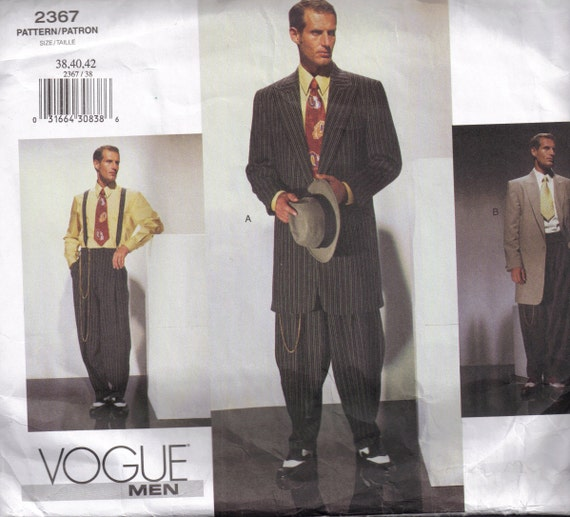 Sewing Pattern Vogue 40 Mens Retro Zoot Suit Cinched Raised Etsy Amazing Mens Suit Sewing Patterns