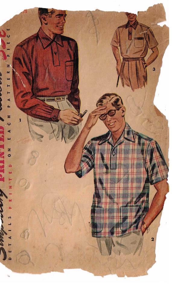 Nähen Schnittmuster Jahrgang 1950 Mens Sport Shirt hinten