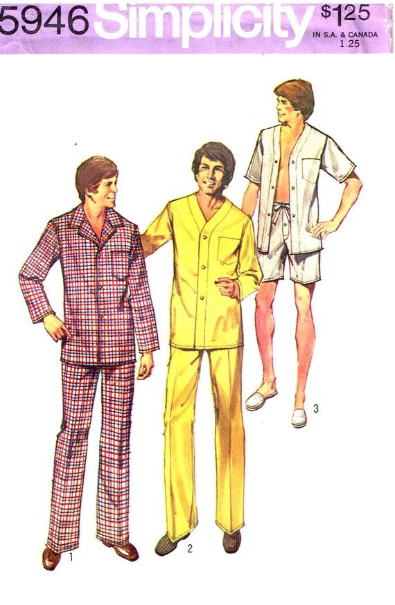 Nähen Muster Herren Schlafanzug zuknöpfen Hemd Hose Hose   Etsy