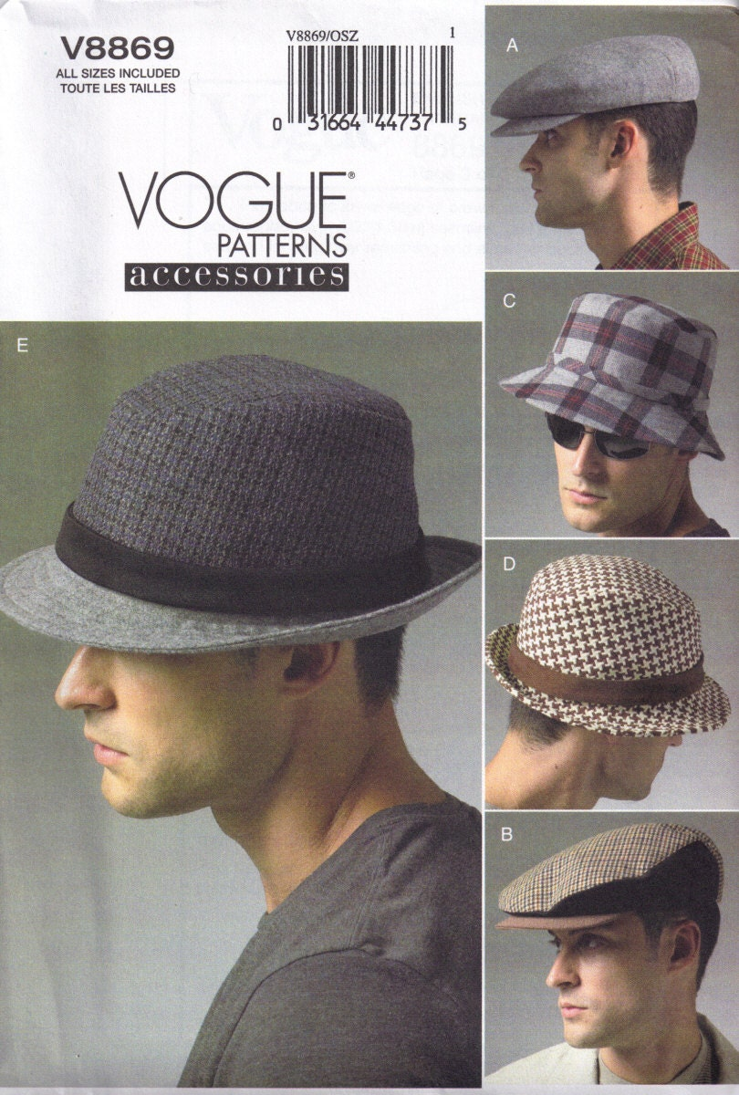 Sewing Pattern Mens Fedora Hat Bucket and Newsboy Cap Vogue  1e041c6886e