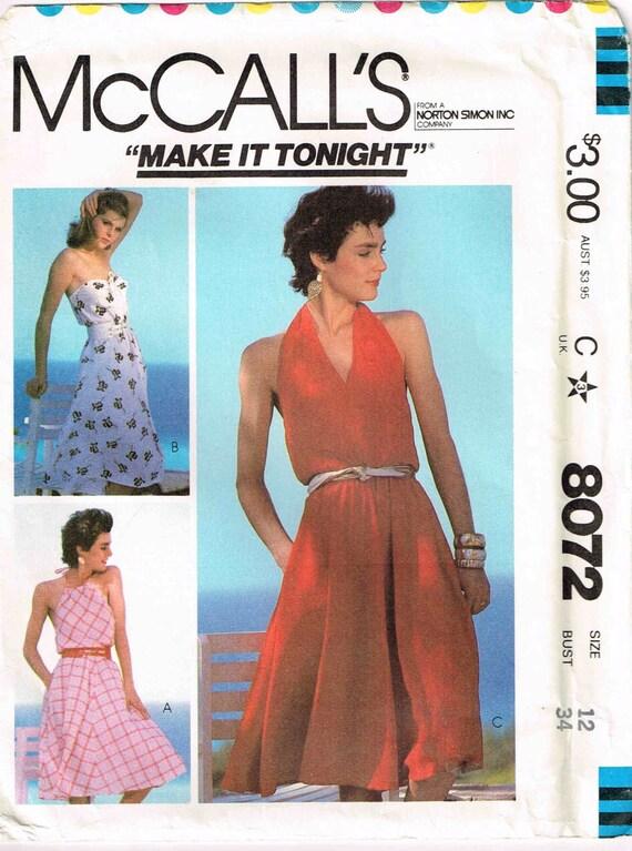 Sewing Pattern Pleated Halter Neckline Strapless Dress | Etsy