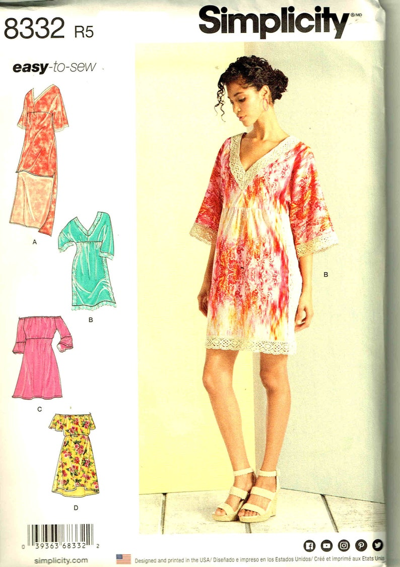 2be5e31a5107 Sewing Pattern Slip Dress Peasant Simplicity 8332 Misses