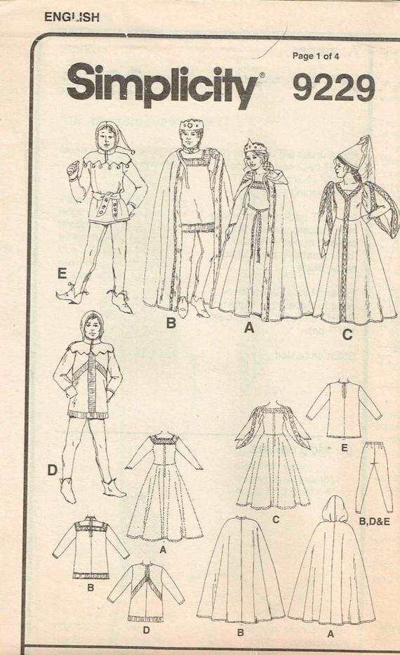 Mittelalterliche Königin König Hofnarr Kleid Kapuzen Cape