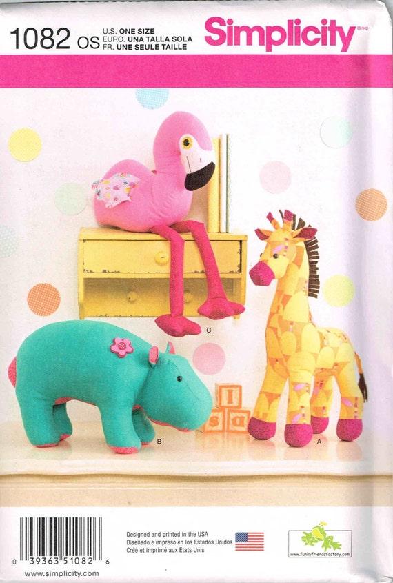 Kuscheltier Nähen Muster Flamingo Vogel Hippo Giraffe Plüsch | Etsy