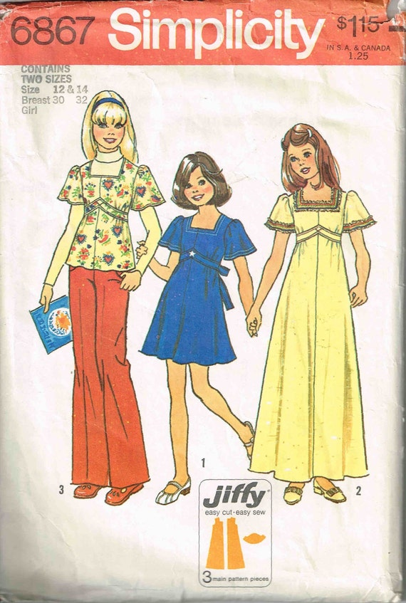 Sewing Pattern Girls Boho Dress and Top Square Neckline | Etsy