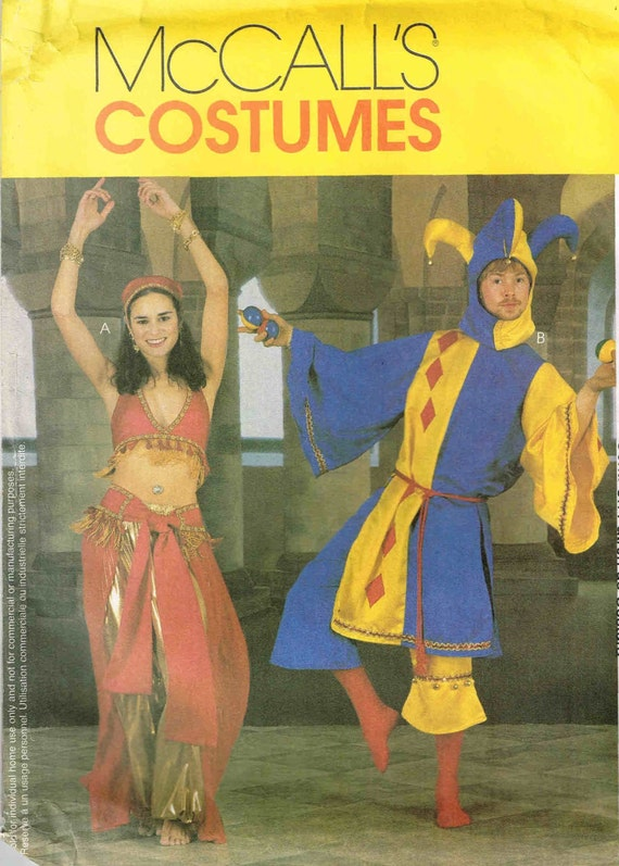 Court Jester and Arabian Belly Dancer Sewing Pattern McCalls 2814 ...