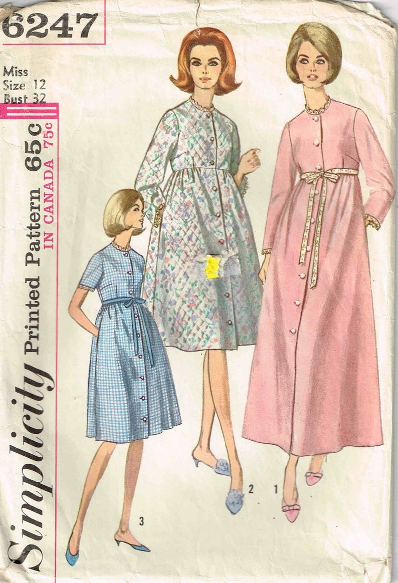 1247612f57 Robe Housecoat Sewing Pattern Vintage 1960s Simplicity 6247