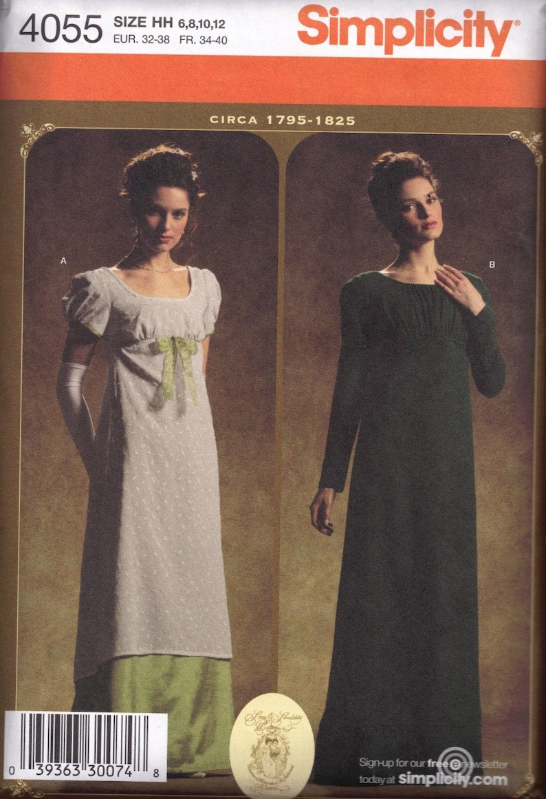 2dd451093 Sewing Pattern Jane Austin Regency Empire Era Dress Titanic