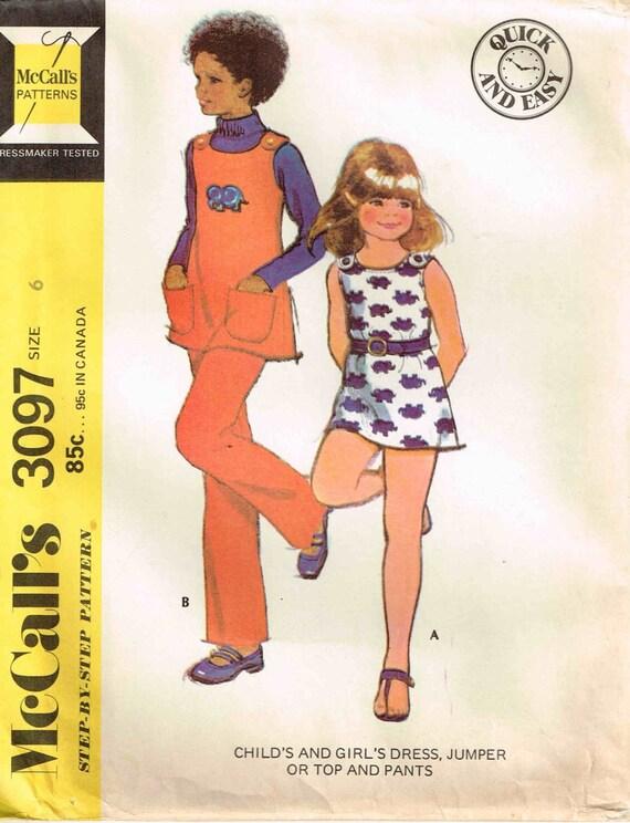 Nähen Schnittmuster Mädchen Pullover Kleid Top Hose McCalls | Etsy