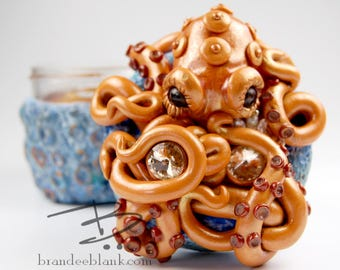 Orange Octopus on Blue Coral  Stash Jar - ready to ship  - air tight, water proof - 4 oz.