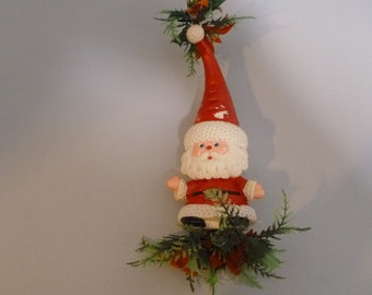 vintage christmas santa small plastic blow mold made in hong kong