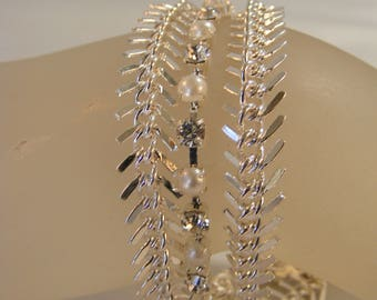 Crystal and Pearl Multi Chain Bracelet