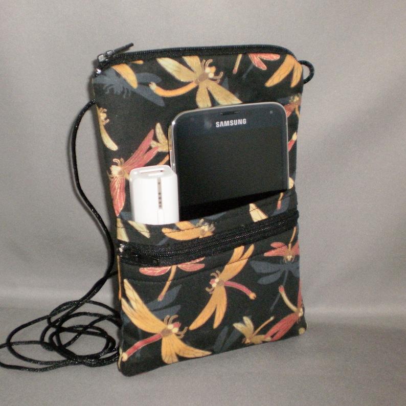 Smart Phone Purse Bronze Black Passport Purse Hipster Butterfly Wallet on a String Sling Bag