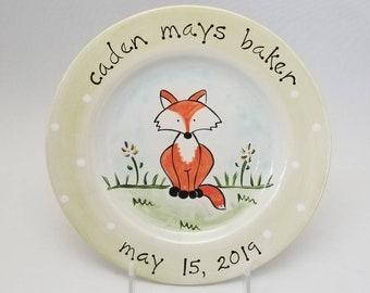 personalized baby plate / custom birth gift  / hand painted baby gift / fox ceramic plate / baby animal plate / new baby gift / baby fox