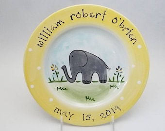 elephant personalized baby plate / birth plate / baby gift / birth gift / baby animal / new baby / ceramic plate / first birthday gift