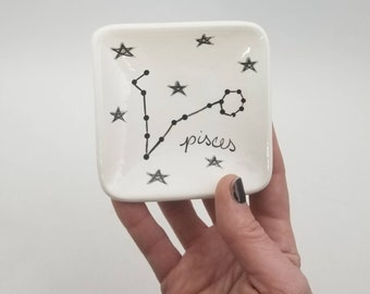 astrology zodiac constellation ring dish / jewelry dish / horoscope pottery / astrological sign / small dish